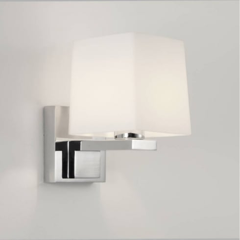 Astro Lighting Broni Square 0777 Chrome and Opal Glass Bathroom Wall Light