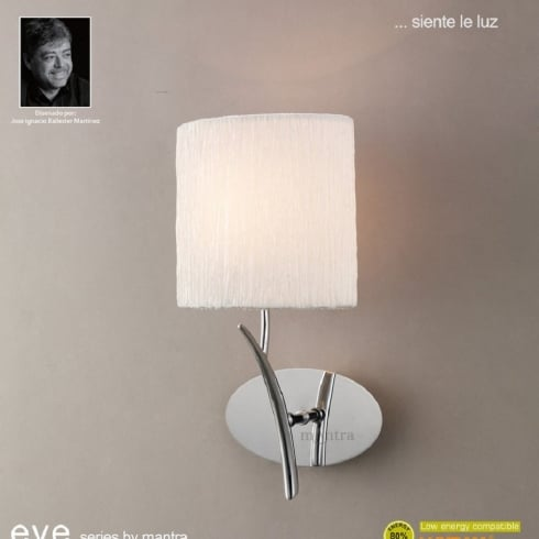 Mantra Spain Eve M1134 Polished Chrome Single Lamp Wall Light with White Shade