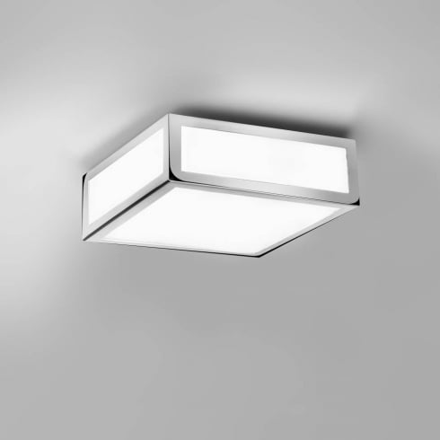 Astro Lighting Mashiko 200 0890 Square Flush Bathroom Ceiling Light Chrome Opal IP44