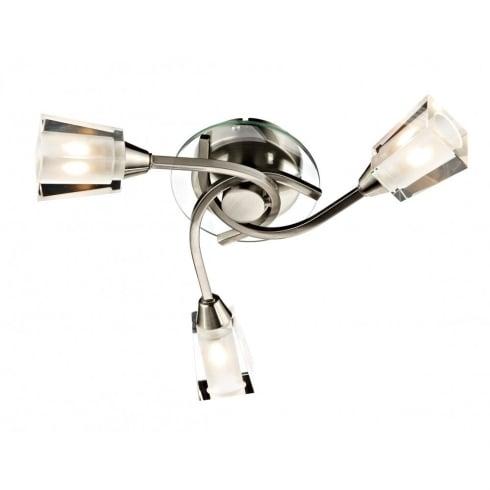 Dar Lighting Austin AUS0346 3 Light Satin Chrome Semi Flush Ceiling Light