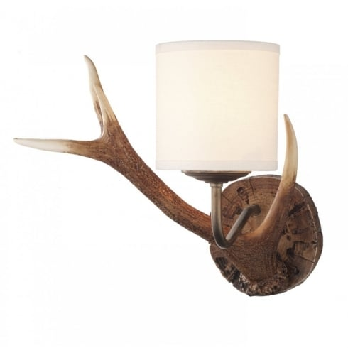 Dar Lighting Antler ANT0729S Hand Crafted Rustic Coloured Wall Light & Cream Shade