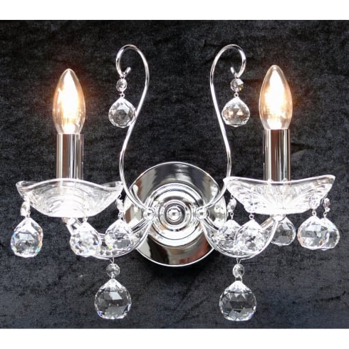 Fantastic Lighting Concerto 1524/2P Chrome Wall Bracket With Crystal Peardrop Trimmings