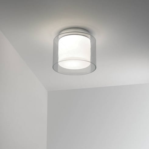 Astro Lighting Arezzo 0963 Chrome and White Opal Flush Ceiling Light