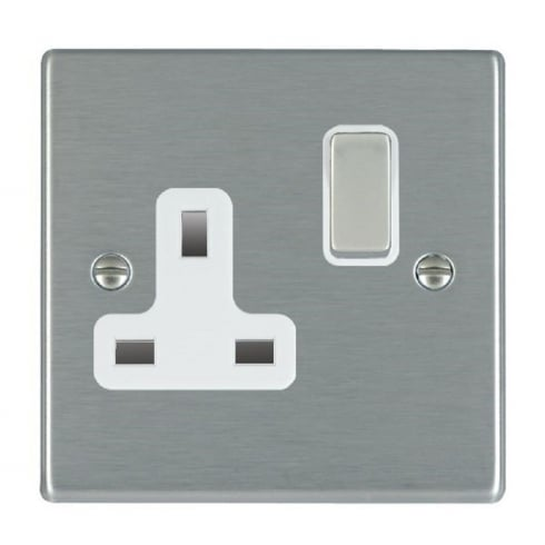 Hamilton Litestat Hartland 74SS1SS-W Satin Steel 1 gang 13A Double Pole Switched Socket