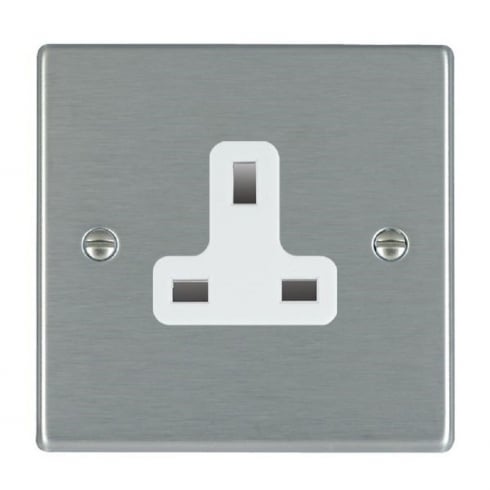 Hamilton Litestat Hartland 74US13W Satin Steel 1 gang 13A Unswitched Socket
