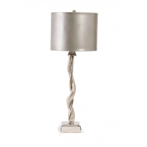 Libra Lighting and Furnishings Willow 37063 Silver Nickel Table Lamp With Pewter Shade