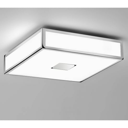 Astro Lighting Mashiko Classic 300 0681 Square Flush Ceiling Light Chrome with Opal Glass IP44