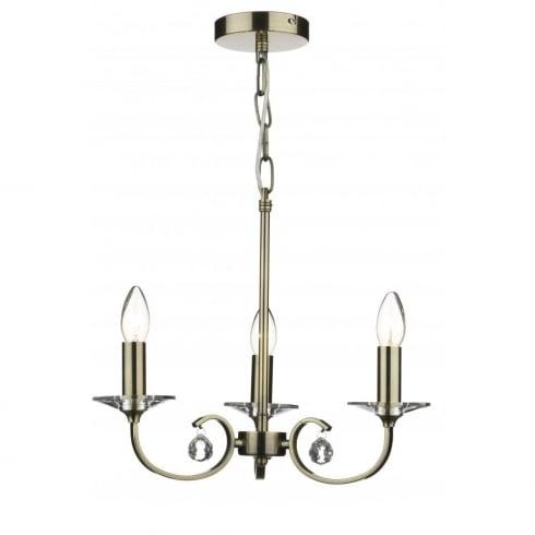Dar Lighting Allegra ALL0375 Antique Brass 3 Light Pendant