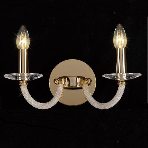 Diyas UK Elena IL-IL30372 Gold Crystal Twin Light Wall Light