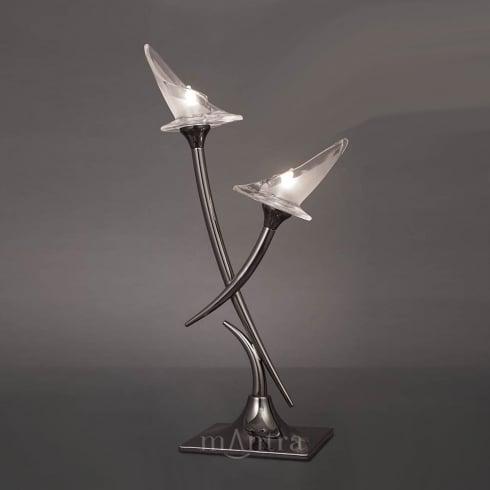 Mantra Spain Flavia M0310 Polished Chrome Twin Light Table Lamp