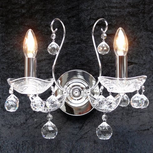 Fantastic Lighting Concerto 1524/2B  Chrome With Lead Crystal Ball Trimmings  Wall Bracket