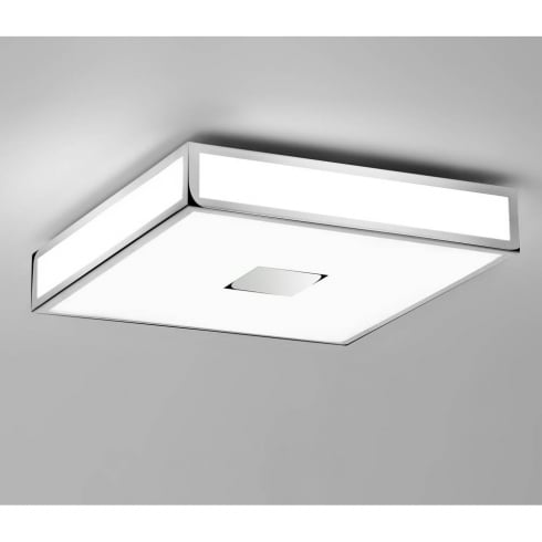 Astro Lighting Mashiko 400 0891 Square Flush Bathroom Ceiling Light Chrome Opal Glass IP44