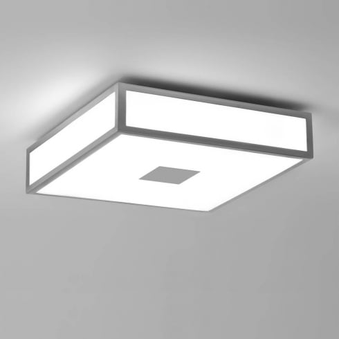 Astro Lighting Mashiko Classic 0949 Flush Ceiling Light Satin Silver with Opal Glass IP44