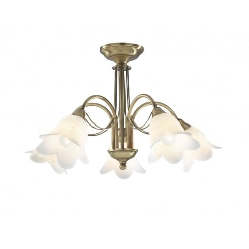 Dar Lighting Doublet DOU05475 Antique Brass Semi Flush 5 Light Ceiling Fitting