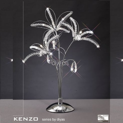 Diyas UK Kenzo IL-IL30882 Polished Chrome Crystal Three Light Table Lamp