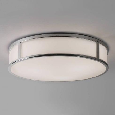 Astro Lighting Mashiko 400 7421 Round Flush Bathroom Ceiling Light Chrome Opal Glass IP44
