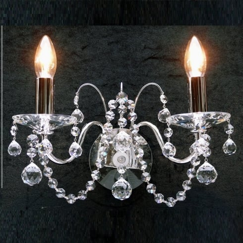 Fantastic Lighting Figaro 411/2  Chrome With Crystal Ball Trimmings  Wall Bracket