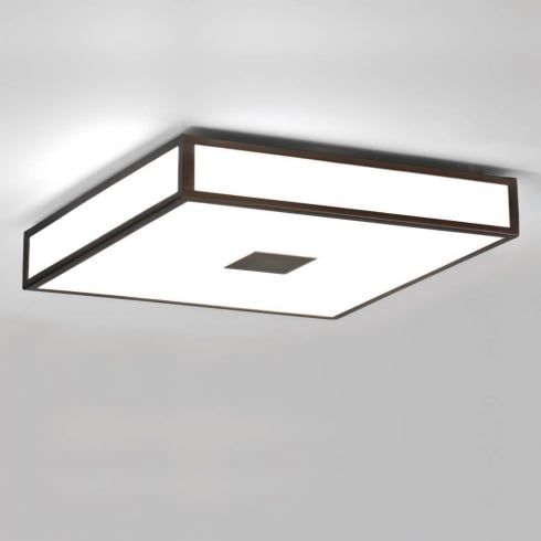 Astro Lighting Mashiko 400 0969 Square Flush Bathroom Ceiling Light Bronze Opal Glass IP44
