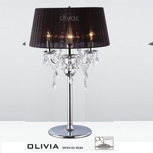Diyas UK Olivia IL-IL30062/BL Polished Chrome Crystal Three Light Table Lamp with Black Shade