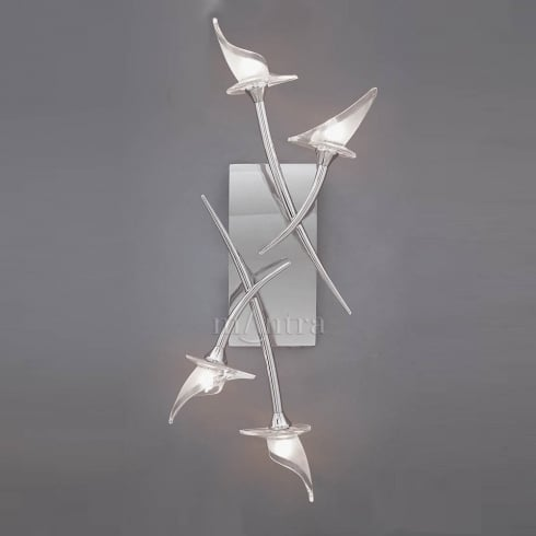 Mantra Spain Flavia M0311 Polished Chrome Flush Four Lamp Ceiling or Wall Light