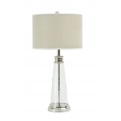 Libra Lighting and Furnishings Regal Glass 067010 Table Lamp Small With Bleach Linen Lamp Shade