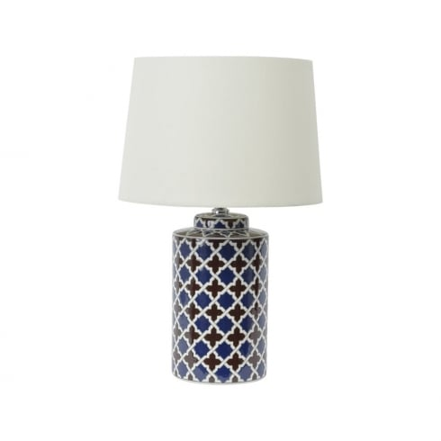 Libra Lighting and Furnishings Tile Print 337949 Quatrefoil Ceramic Design Table Lamp With Lamp Shade