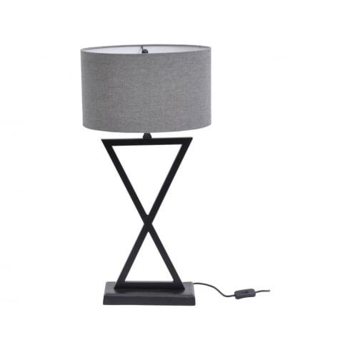 Libra Lighting and Furnishings Wardour 700075 Matt Black Cross Pattern Table Lamp With Grey Lamp Shade