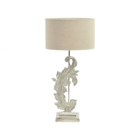 Libra Lighting and Furnishings Damask 337767 Small Washed Nickel Table Lamp With Beige Fabric Lamp Shade