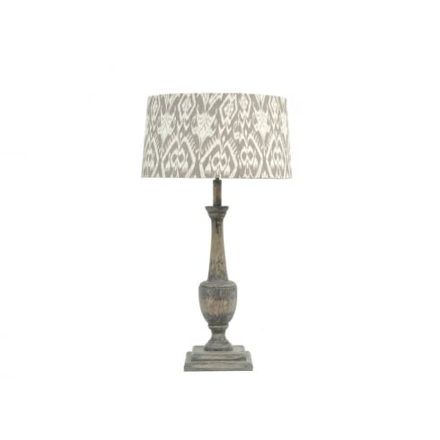 Libra Lighting and Furnishings Roxborough 337647 Table Lamp Split Mindi Wooden Lamp Base and Ikat Lamp Shade