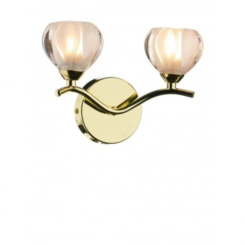 Dar Lighting Cynthia CYN0940 Polished Brass 2 Light Wall Fitting