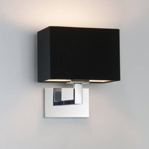 Astro Lighting Connaught 0567 Polished Chrome Surface Wall Light with Black Lamp Shade