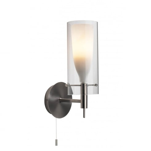 Dar Lighting Boda BOD0746 Satin Chrome Double Glass Wall Light