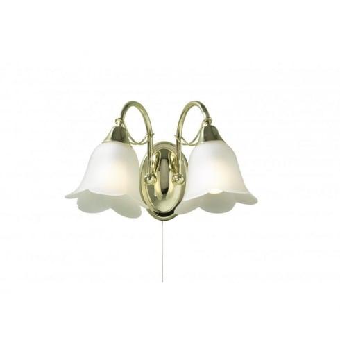Dar Lighting Doublet DOU09 Brass 2 Light Wall Fitting