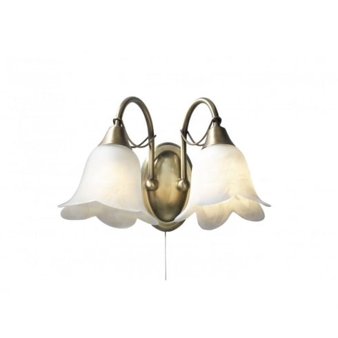 Dar Lighting Doublet DOU0975 Antique Brass 2 Light Wall Fitting