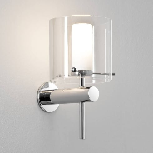Astro Lighting Arezzo 0342 Polished Chrome Bathroom Wall Light with Clear Glass Lamp Shade