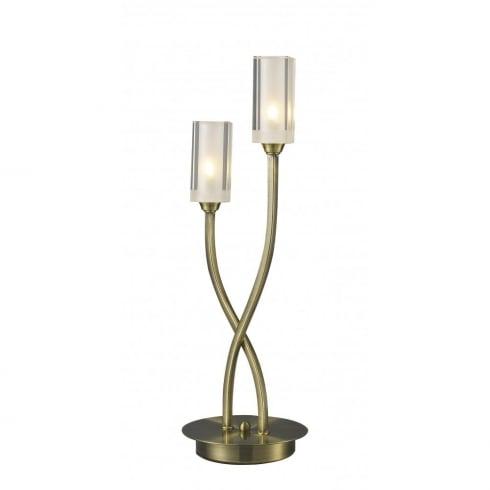 Dar Lighting Morgan MOR4075 Antique Brass 2 Light Table Lamp