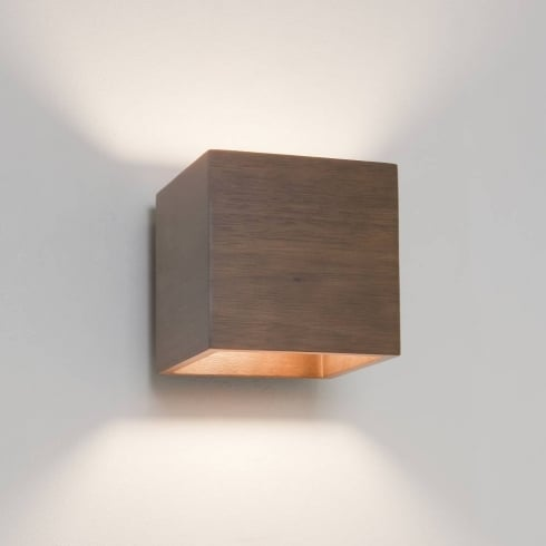 Astro Lighting Cremona 0399 Walnut Cube Surface Mounted Wall Light IP20