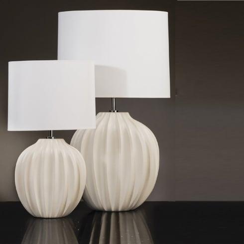 Elstead Lighting Veronica Cream Ribbed Ceramic Table Lamp Medium