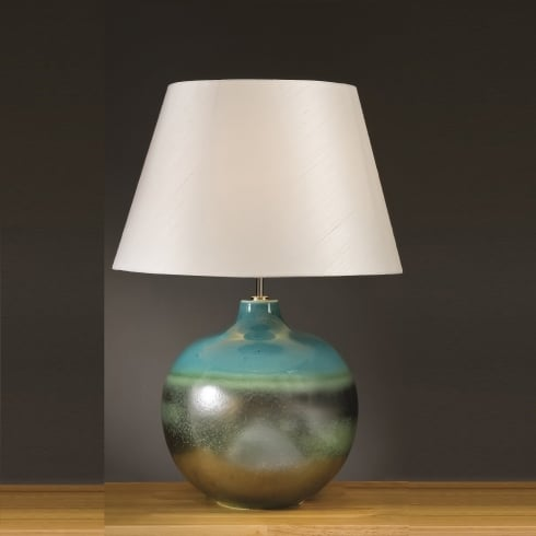 Elstead Lighting Laguna Turquoise & Silver Table Lamp Large