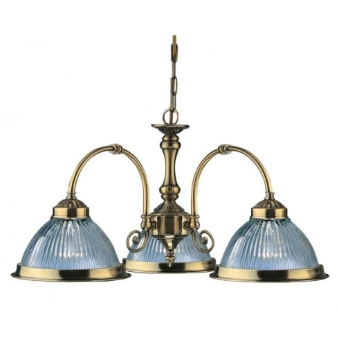Searchlight Electric American Diner 9343-3 Antique Brass With Clear Ribbed Glass Pendant