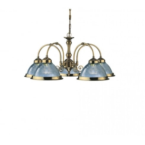 Searchlight Electric American Diner 9345-5 Antique Brass With Clear Ribbed Glass 5 Light Pendant