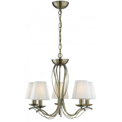 Searchlight Electric Andretti 9825-5AB Antique Brass With Faux Silk Shade Pendant