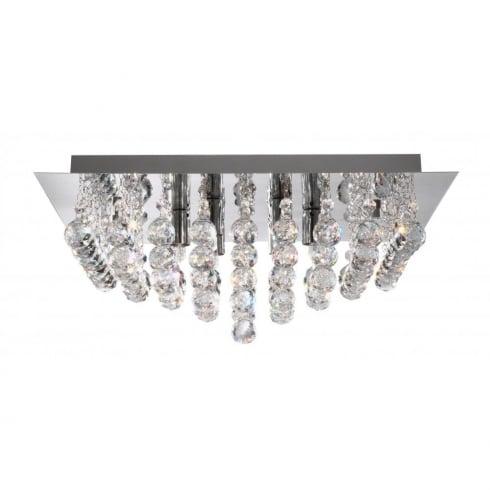 Searchlight electric hanna 6406 6cc chrome with crystal detail flush ceiling light
