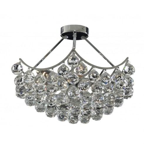 Searchlight electric sassari 6555 5cc chrome with crystal detail semi flush chandelier