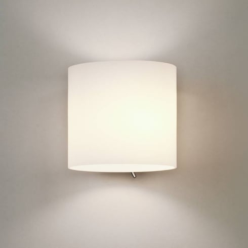Astro Lighting Luga 0411 Switched Surface Wall Light in Painted Silver with Opal Glass