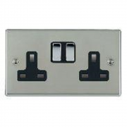 Hartland 73SS2BC-B Bright Chrome 2 gang 13A Double Pole Switched Socket