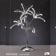 Kenzo IL-IL30882 Polished Chrome Crystal Three Light Table Lamp
