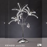Kenzo IL-IL30882 Polished Chrome Crystal Three Light Table Lamp