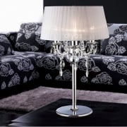 Olivia IL-IL30062/WH Polished Chrome Crystal Three Light Table Lamp with White Shade