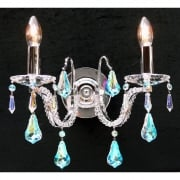 Mozart 605/2 Chrome With Aurora Borealis Peardrop Trimmings Wall Bracket